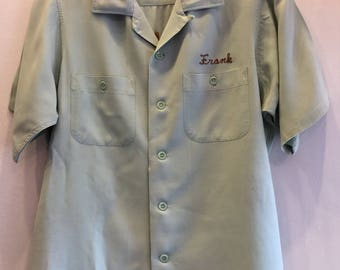 Vintag King Louie Bowling Shirt Light Mint Green Gabardine 1950's Trophy House Frank Mens size Medium