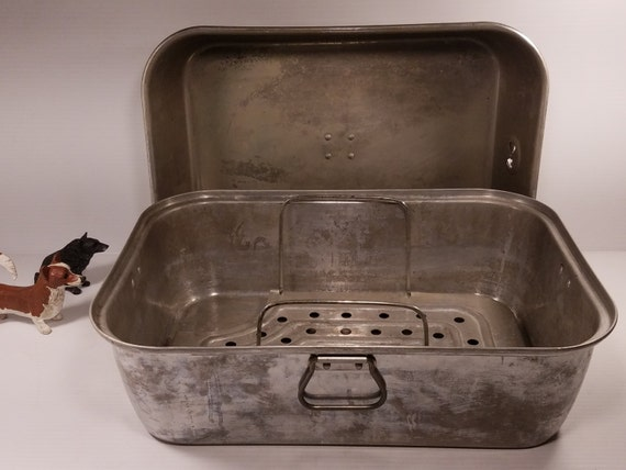 Vintage Extra Large Aluminum Roasting Pan With Vented Lid And