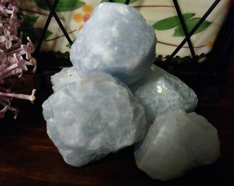 Blue calcite crystal raw mineral Crystals for anxiety Crystal healing crystal healing raw mineral specimen Etsy minerals natural calcite