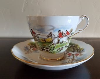 Regency English Bone China Hunt Scene Cup and Saucer