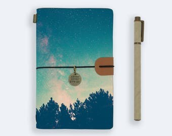personalized leather journal refillable notebook diary genuine leather cover starry night mountain