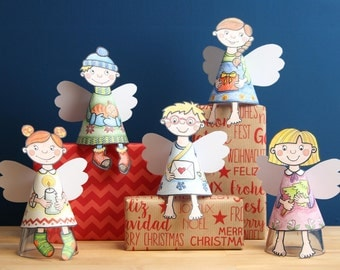 5 Christmas angels made of paper for colouring and cutting out as PDF: a set of handicrafts for kids
