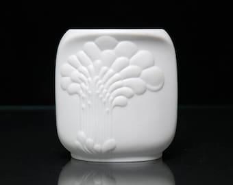 Vintage Bisque Porcelain Candle Holder by M. Frey for A K Kaiser West German Op Art Form 672