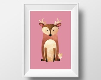 "POSTER. Printable A3 Pink Poster ""Deer"" for Children Rooms. Instant download PDF."