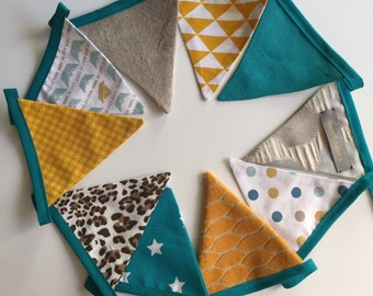 pennants/flags in tissue Garland yellow beige and turquoise blue