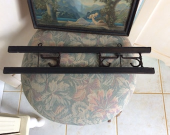 Antique Wood Wall Coat Rack with 3 Swivel Iron Arms, Primitive Country