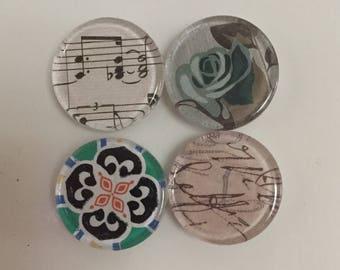 Decoupaged Glass Magnet Set