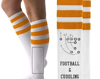 Football & Cuddling | Knee-High Socks, Gym Socks, Tube Socks, Cuddling, Sports Teams, Fall Socks, Holidays, I Love Football, Fun Socks