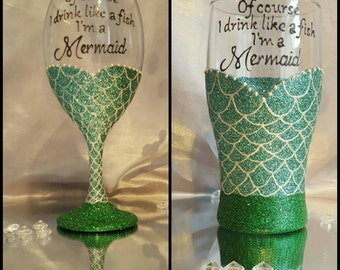 mermaid glitter wine/pint glass