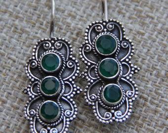 Silver Oxidised Quartz Onyx Black Green Ornate