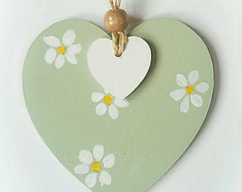 Love heart - hanging heart - name decoration - painted heart - heart decoration - personalised name gift - door hanging - wooden heart