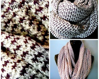 INFINITY SCARVES.Plum.White.Knit.Scarf.Circle Scarf.Tube Scarf.Neckwarmer.Gift ideas.Winter Scarf.Fall Scarf.Winter FashionScarves.SC0090