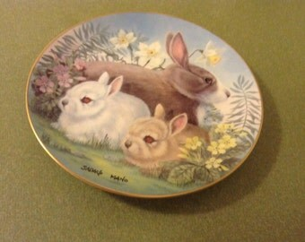 Collectible 1982 plate, collectible bunny plate, rabbit picture, rabbit plate, Hackett American, Four Seasons, Spring 1982, Sadako Mano