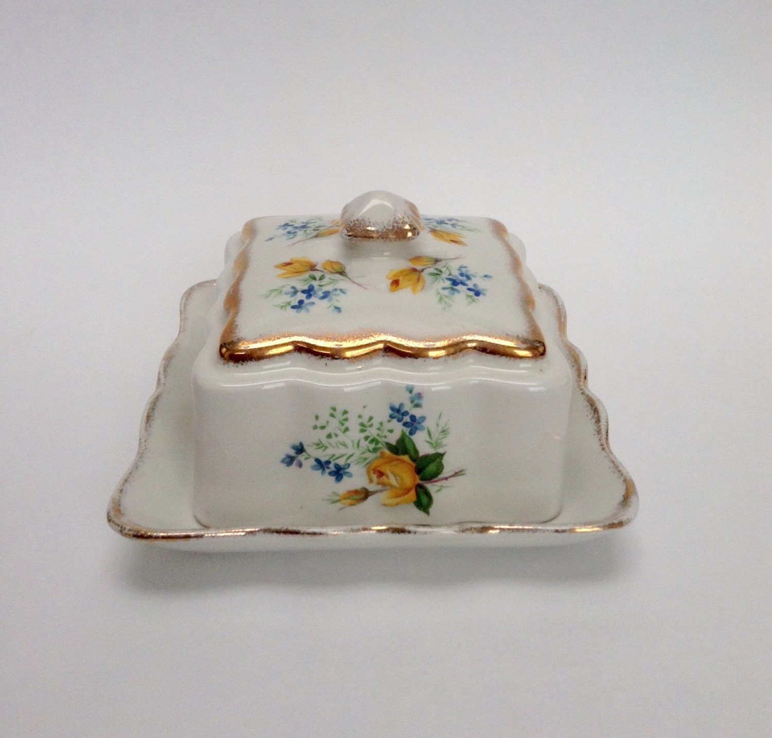 Vintage covered butter dish Old Foley James Kent LTD