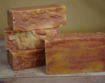 Crisp Anjou Pear, Striped, All Natural, Cold Process Soap