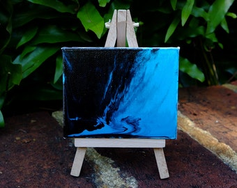 Mini original abstract painting on canvas with mini easel stand, abstract art, canvas art, mini painting, original painting, fluid art