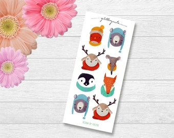 Winter Animal Heads (Fox, Penguin, Deer, Bear, Mouse, Bird) Planner Stickers
