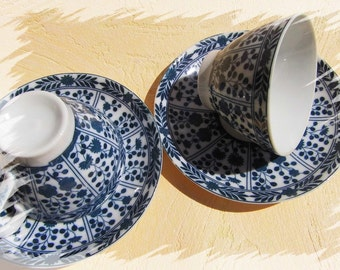 Cups set of 2 set with saucers in blue white vintage table decorations