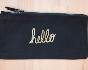 Hello – Black make up pouch