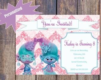 Trolls Birthday Invitation - Twins/Pink Glitter
