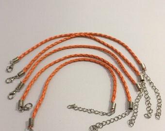 7 Inch Braided Orange Wrist/Ankle Bracelet's 5pc