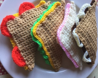 4 sandwich triangles, Ham sandwich, Cheese and tomato sandwich, Cheese and lettuce sandwich, Beef and onion sandwich, Crochet sandwiches
