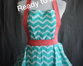 fun and flirty cute retro full kitchen apron in teal chevron with coral ties