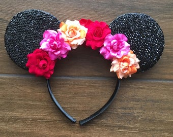 Elena of Avalor inspired floral crown mouse ears