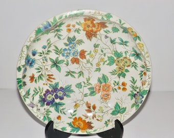 Daher Decorated Ware green floral bowl,made in England,flower bowl,english floral tin,daher metal tray,daher tins,floral tray