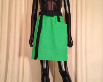 LANVIN - Paris skirt wool black and green years 70's