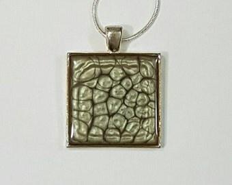 Gunmetal Grey Handpainted Resin Pendant