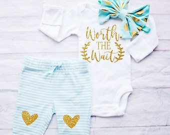 Baby Girl Coming Home Outfit - Worth The Wait Newborn Outfit - Baby Girl Going Home Outfit, Hospital Outfit, Girl Clothing, One Piece