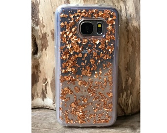 Rose Gold Glitter Case for Samsung Galaxy S5 / S6 / S7 | Flake Glitter Cover | Samsung Aluminum Flakes | Transparent Glitter Samsung Case