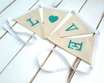 Embroidered Bunting   Love Flags   Fabric bunting   Love Bunting   Love Pennant   Love Banner   Wedding Decor   Embroidered Banner   Banner