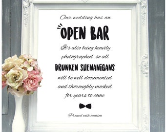 Printable wedding sign for open bar wedding decor wedding decor idea wedding saying