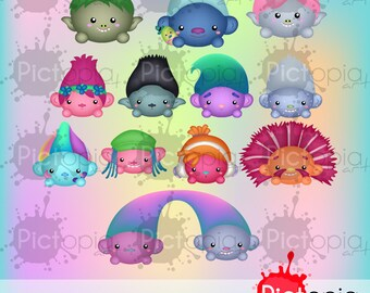 Voucher code buy1get1 Cute Trolls Icons Digital Clipart for Personal Use / INSTANT DOWNLOAD