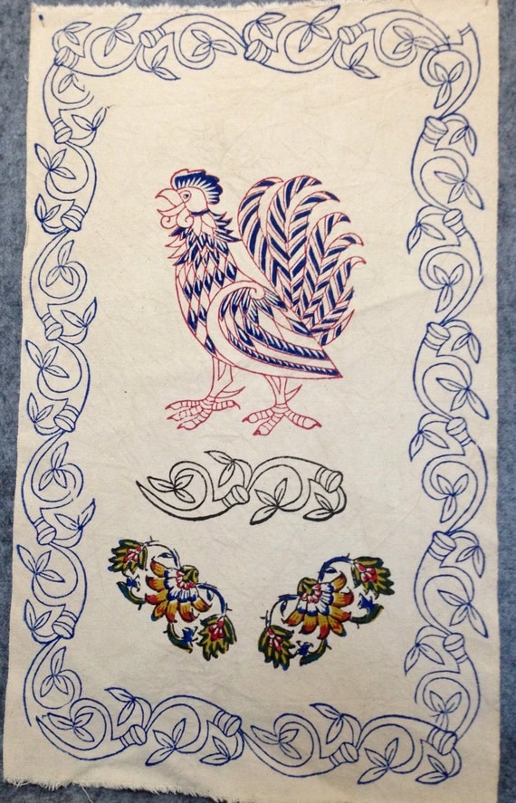 """Block printed cotton fabric with rooster design,tea towel,sewing fabric,project fabric,cotton,slow fashion,diy project,26"""" x 16"""", wall art"""