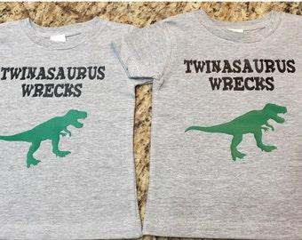 Twinasaurus Wrecks t shirts
