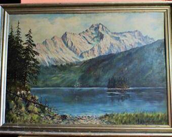 Large Vintage Signed Masel Herrmann Oil Painting, Mountains Lake Nature