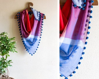 Scarf - Handloom Cotton Squares with Pom-Poms - Colourful