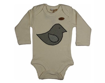 Baby Bodysuit long sleeve & short sleeve organic(Creme)-aus of the Bittersüß factory in Düsseldorf with a birdie sheathed 0-18 months-Babystrampler-