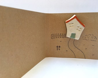 house brooch ceramic handmade wonky house- cottage