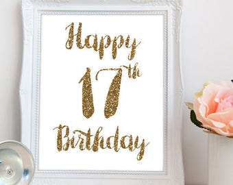 Happy 17th birthday PRINTABLE, printable happy 17th birthday, 17th birthday party, 17 birthday, happy 17th printable, INSTANT DOWNLOAD
