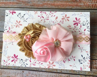Pink and Gold Headband, Infant Headband, Pink and Gold Baby Headband, Baby Girl Headband, Pink Headband, Headband, Pink Baby Headband, Baby