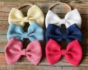 PICK 4 Burlap Bow Headbands/Bow Headbands/Baby Headbands/Newborn Headbands/Infant Headbands/Headbands for Babies/Bows/Headband Sets/Headband