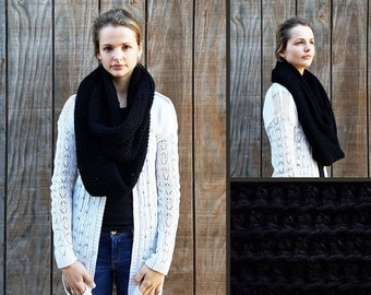 Hand Crocheted Oversized Bulky Chunky 100% Wool Infinity Scarf