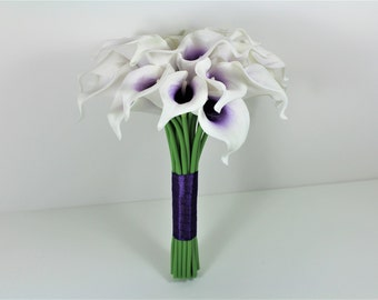 Brides White Purple Real Touch Picasso Calla Lily Wedding Bouquet Bridal Flowers