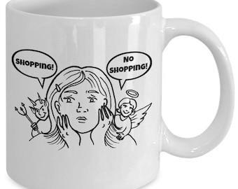 SHOPPING! NO SHOPPING! - Devil vs Angel Funny Novelty Mug - Gift for Shopaholics - 11 oz white coffee tea cup