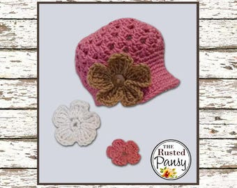 Crochet Baby Girl Newsboy Hat with Interchangable Flowers Size 6-12 Months