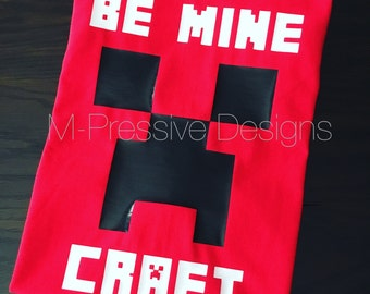 "Boy's Valentine's Day Shirt - ""Be Mine Craft"""